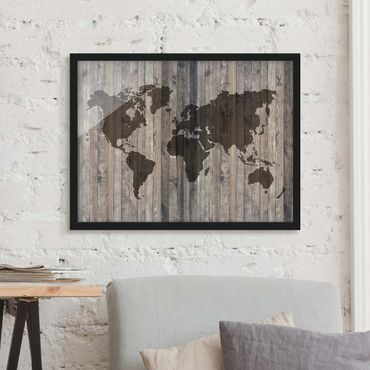 Poster con cornice - Wooden World Map - Orizzontale 3:4