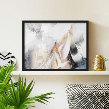 Poster con cornice - Oro pittura astratta inverno - Orizzontale 3:4
