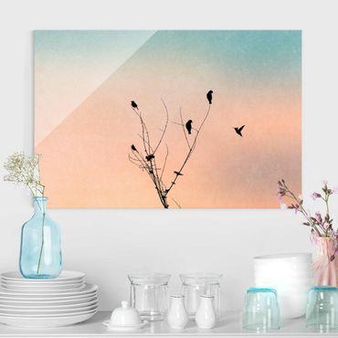 Quadro in vetro - Uccelli davanti al sole rosa II - Orizzontale 2:3