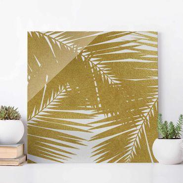Quadro in vetro - Scorcio tra foglie di palme dorate