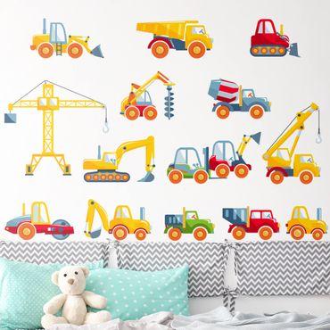 Adesivi murali bambini - Set di veicoli da construzione