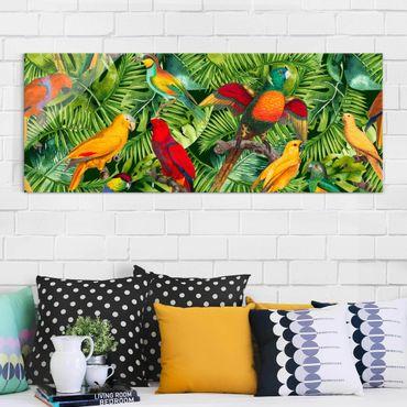 Quadro in vetro - Colorato collage - Parrot In The Jungle - Panoramico