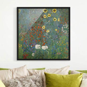 Poster con cornice - Gustav Klimt - Garden Sunflowers - Quadrato 1:1