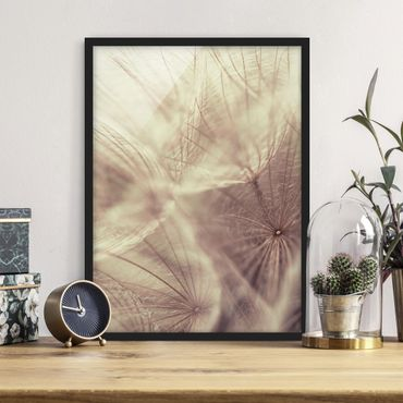 Poster con cornice - Detailed And Dandelion Macro Shot With Vintage Blur Effect - Verticale 4:3