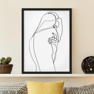 Poster con cornice - Line Art Nudo spalla Bianco e nero - Verticale 4:3