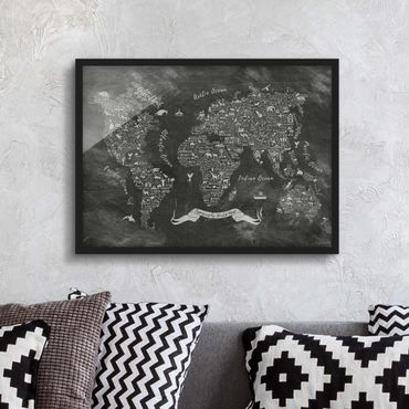 Poster con cornice - Chalk Typography World Map - Orizzontale 3:4