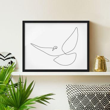 Poster con cornice - Dove Line Art - Orizzontale 3:4