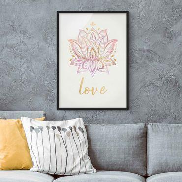 Poster con cornice - Lotus illustrazione Oro Rosa - Verticale 4:3