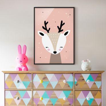 Poster con cornice - Happy Deer - Verticale 4:3