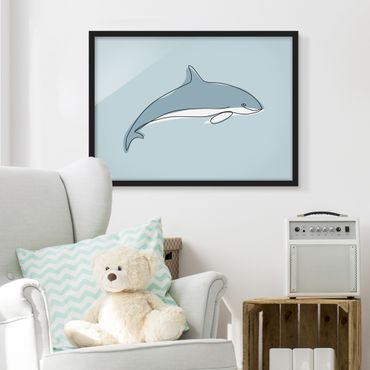Poster con cornice - Dolphin Line Art - Orizzontale 3:4