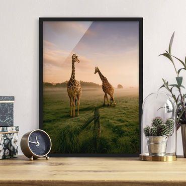 Poster con cornice - Surreal Giraffes - Verticale 4:3