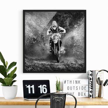 Poster con cornice - Motocross In The Mud - Quadrato 1:1