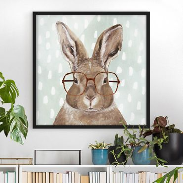 Poster con cornice - Animals With Glasses - Rabbit - Quadrato 1:1