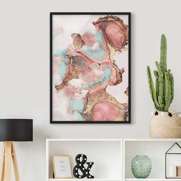Poster con cornice - Oro Acquerello Rosé - Verticale 4:3