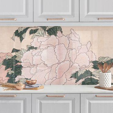 Rivestimento cucina - Katsushika Hokusai - Peonie rosa con farfalle
