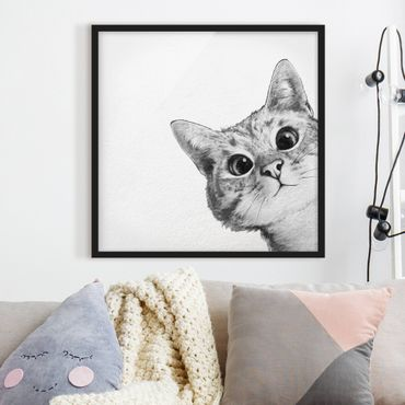 Poster con cornice - Illustrazione Cat Disegno Nero Bianco - Quadrato 1:1
