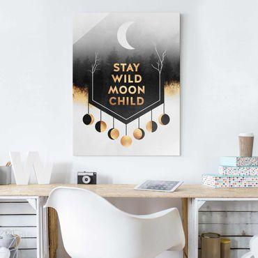 Quadro in vetro - Rimanere selvaggio Moon Child - Verticale 4:3