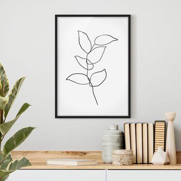 Poster con cornice - Line Art ramo bianco e nero - Verticale 4:3