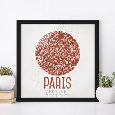 Poster con cornice - Mappa Paris - Retro