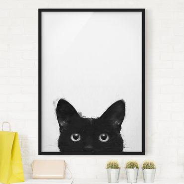 Poster con cornice - Illustrazione pittura Gatto nero su bianco - Verticale 4:3