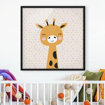 Poster con cornice - baby giraffe