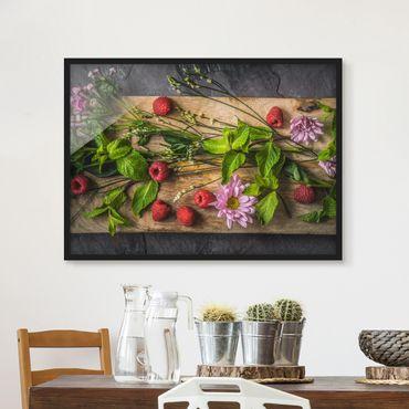Poster con cornice - Flowers Raspberry Mint - Orizzontale 3:4