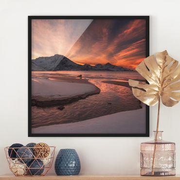 Poster con cornice - Golden Sunset - Quadrato 1:1