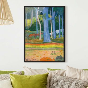 Poster con cornice - Paul Gauguin - Landscape With Blue Tree Trunks - Verticale 4:3