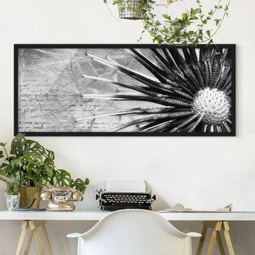 Poster con cornice - Dandelion Black & White - Panorama formato orizzontale