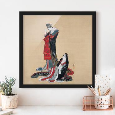 Poster con cornice - Katsushika Hokusai - Two Courtesans - Quadrato 1:1