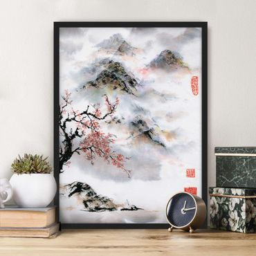 Poster con cornice - Giapponese disegno ad acquerello Ciliegio E Montagne - Verticale 4:3