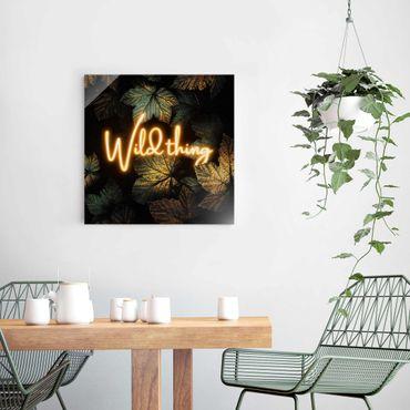 Quadro in vetro - Wild Thing Golden Leaves - Quadrato 1:1