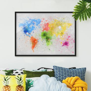 Poster con cornice - Colorful Splashes World Map - Orizzontale 3:4