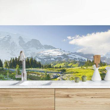 Rivestimento cucina - Prato Di Montagna Con Fiori Di Fronte Del Monte Rainier