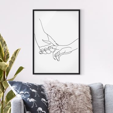 Poster con cornice - Tender Mani Line Art - Verticale 4:3