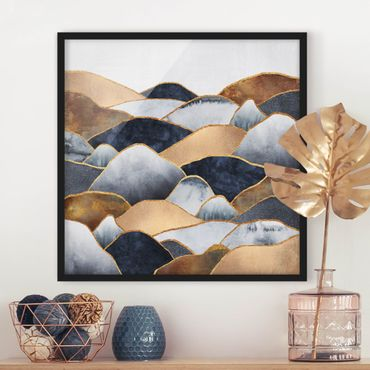 Poster con cornice - Oro Monti Acquerello - Quadrato 1:1