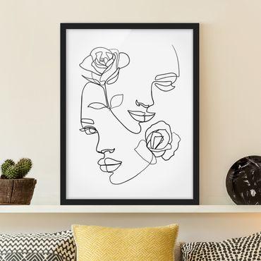 Poster con cornice - Line Art Faces donne Roses Bianco e nero - Verticale 4:3