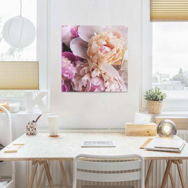 Quadro in vetro - Blooming Peony - Quadrato 1:1