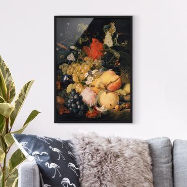 Poster con cornice - Jan Van Huysum - Fruits, Flowers And Insects - Verticale 4:3