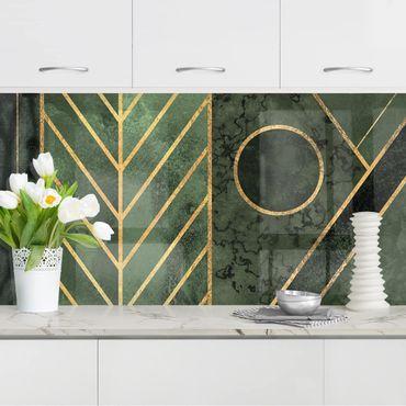 Rivestimenti cucina - Forme Geometriche Oro Verde smeraldo