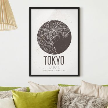 Poster con cornice - Tokyo City Map - Retro - Verticale 4:3