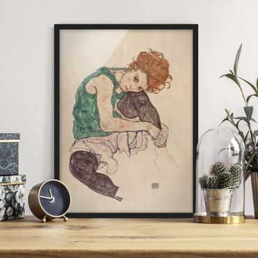 Poster con cornice - Egon Schiele - Donna seduta con il ginocchio sollevato - formato verticale 4:3
