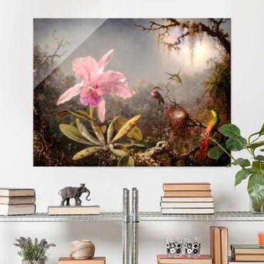 Quadro in vetro - Martin Johnson Heade - orchidea e Tre colibrì - Orizzontale 3:4