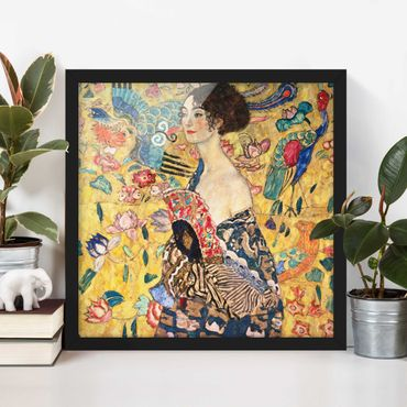 Poster con cornice - Gustav Klimt - Donna con ventaglio - Quadrato 1:1