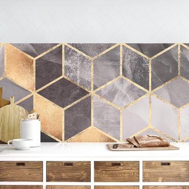 Rivestimenti cucina - Bianco e Nero oro Geometria
