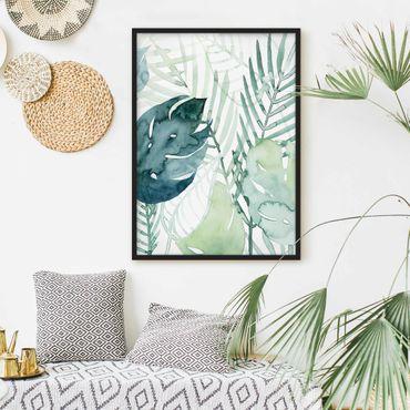 Poster con cornice - Fronde Di Palma Di Colore Dell'Acqua Che Io - Verticale 4:3