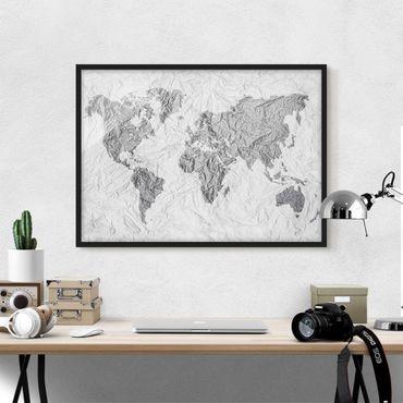 Poster con cornice - Paper World Map White Gray - Orizzontale 3:4