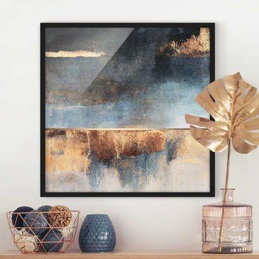 Poster con cornice - Estratto Lakeshore In Oro - Quadrato 1:1