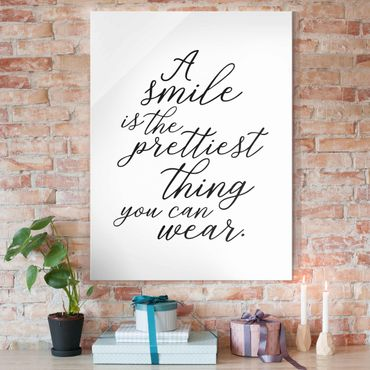 Quadro in vetro - A Smile Is The Prettiest Thing - Verticale 3:4