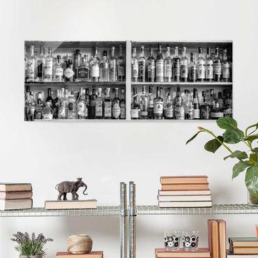 Quadro in vetro - Bar Black White - Panoramico